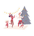 family wearing holiday attributes dancing near the vector image