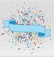 flying christmas confetti with ribbon vector image vector image