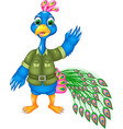 funny peacock cartoon posing with smile and waving vector image vector image
