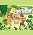 garden picnic people sitting on rocks in garden vector image