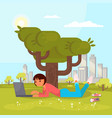 girl with laptop in park flat vector image