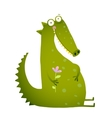 Green Cute Kids Crocodile Sitting with Flower vector image