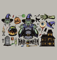 halloween scary elements vintage set vector image vector image