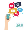 hand hold smartphone mobile applications vector image vector image