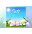 happy easter card with eggs spring flowers green vector image