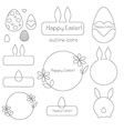 Happy easter outline icons vector image vector image