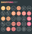 inline shopping icons collection trendy linear vector image vector image