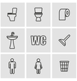 line toilet icon set vector image vector image