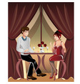 man and woman in a restaurant vector image vector image