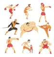 Martial Arts Fighters Demonstrating Different vector image vector image