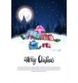 merry christmas flyer with present boxes in snowy vector image vector image