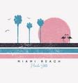 miami beach florida t-shirt design with flamingo vector image vector image