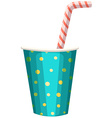 Party cup with straw vector image vector image