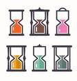 Sand clock retro flat design icons set