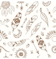 seamless pattern with boho chic style elements vector image