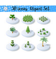 set isometric 3d trees forest nature elements