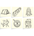 Set of camping and outdoor equipment on yellow mem vector image vector image