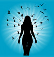 silhouette woman with birds flying around her vector image vector image