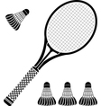 stencil of racket and badminton shuttlecocks vector image