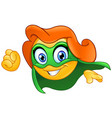 superheroine emoticon vector image