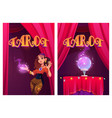 tarot posters with fortune teller and magic ball vector image vector image