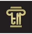 tm logo monogram with pillar style design vector image vector image