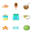 Vacation icons set cartoon style vector image vector image