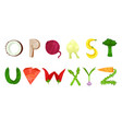 vegetable and fruits alphabet letters vector image vector image