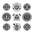 vintage monochrome firefighting labels set vector image vector image