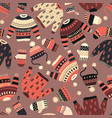 warm knitted winter wear seamless pattern vector image