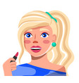 young blonde with lipstick in hand close up vector image