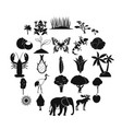 african wildlife icons set simple style vector image