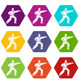 aikido fighter icon set color hexahedron vector image vector image