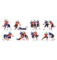 american football game set players in motion vector image