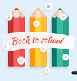 Back to school pencil with education icons vector image vector image