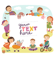 Background with cute children vector image vector image