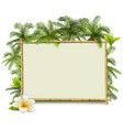 Bamboo Frame with Palm vector image vector image