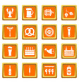 beer icons set orange vector image vector image