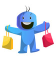 blue cartoon caracter holding shoping bags on vector image vector image