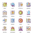 business strategy flat icons set vector image vector image