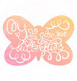 Butterfly with hand drawn typography poster vector image vector image
