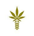 caduceus cannabis marijuana hemp medical logo icon vector image vector image