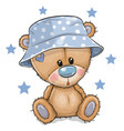 cartoon teddy bear in panama hat isolated