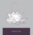 detailed monochrome drawing of teapot transparent vector image