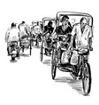 drawing india tricycle on street in india vector image vector image