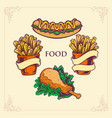 fast food hotdog chicken french fries set vector image