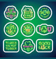 glowing neon patricks signs sticker pack with vector image vector image
