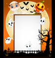 halloween sign with little mummy pumpkin mask and vector image vector image
