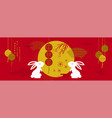 Happy mid autumn festival rabbits and abstract