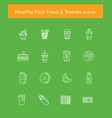 healthy fast food white icons vector image